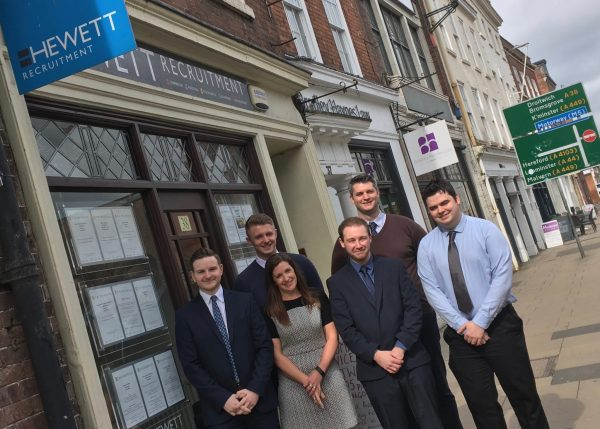 Hewett Recruitment team outside their office in Worcester